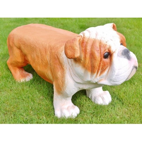 Friendly Bulldog Garden Small Bench / Stool