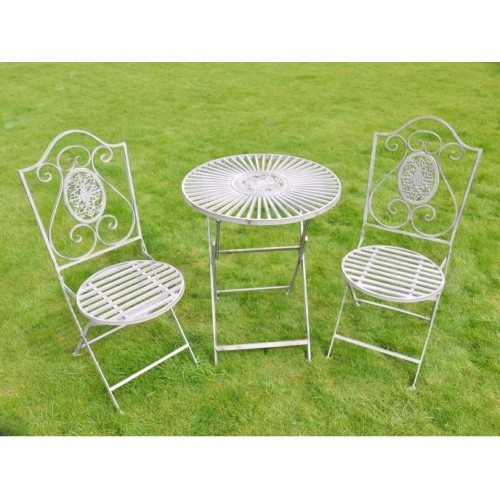 Grey Modern Metal Garden Bistro Table & 2 Chairs