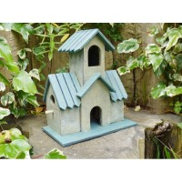 Rustic Two Storey Birdhouse In Blue & Cream
