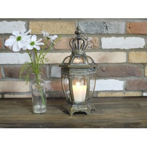 Ornate Brass Effect Indoor Decor Candle Lantern