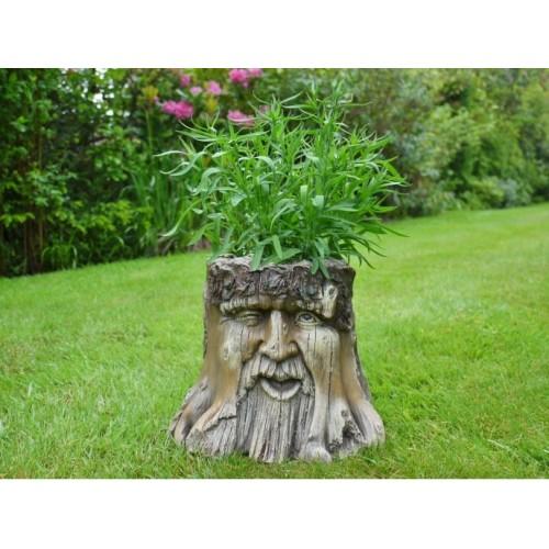Novelty Tree Stump Winking Face Garden Planter