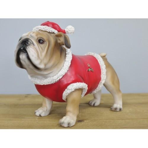 "Small Cute Christmas Bulldog In Santa Suit Ornament ""Comet"""