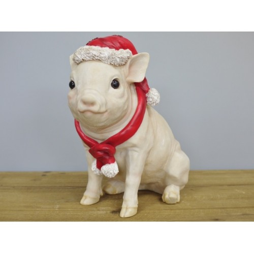 Christmas Pig With Hat & Scarf Ornament