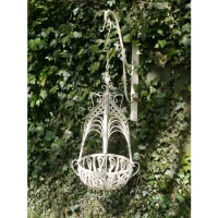Cream Distressed Wrought Iron Garden Hanging Basket