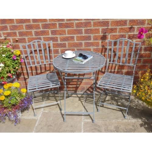 Grey French Style Distressed Bistro Garden Furniture Set