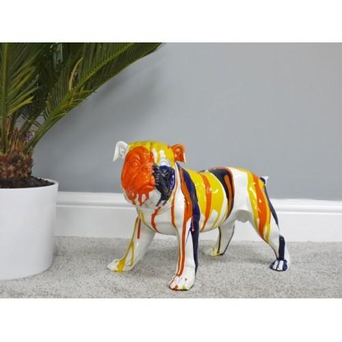 Small Colourful Bulldog Garden Statue Ornament Buddy