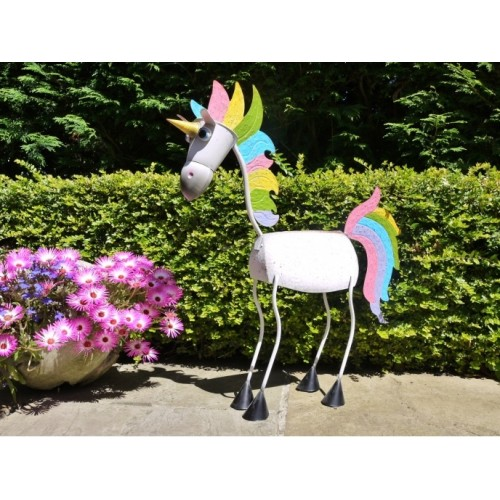 Garden Or Bedroom Rainbow Coloured Unicorn Statue