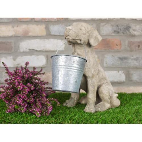 Cute Dog Holding Bucket Ornament