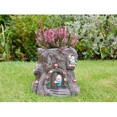 Novelty Tree Stump Little Men Garden Planter