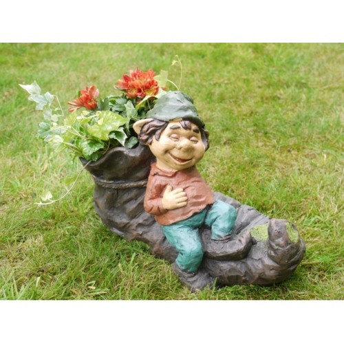 Novelty Boot Planter & Sitting Laughing Boy
