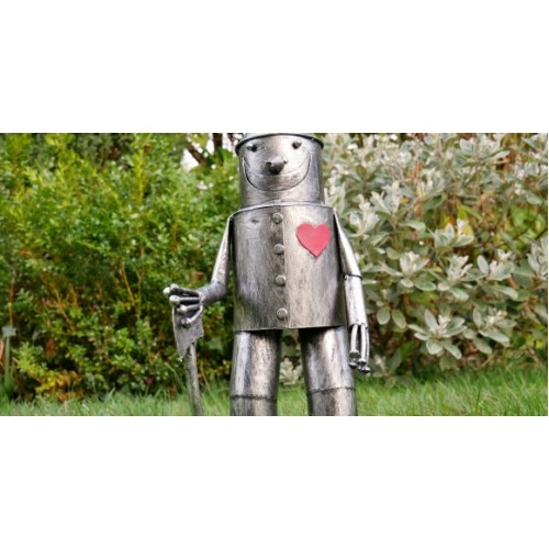Small Silver Tin Man Outdoor Garden Statue 41cm
