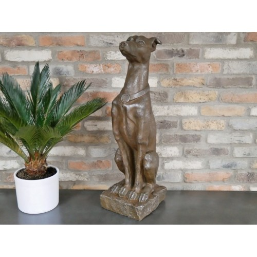 Large Brown Sitting Dog Outdoor Resin Ornament