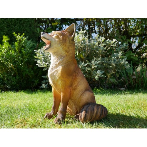 Brown Adorable Resin Sitting Down Fox Garden Ornament