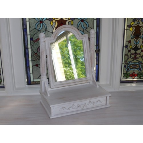 White Shabby Chic Cheval Mirror & Trinket Drawer